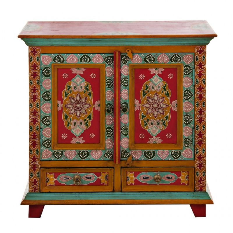 Mueble con cajones y puertas Turquesa / Rojo Haus