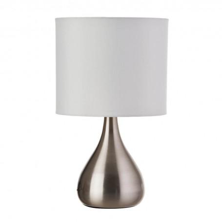 Lámpara de mesa con pantalla cilíndrica Blanco / Plata