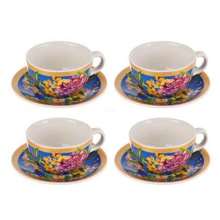 Juego de tazas y platos para té Tala Corona