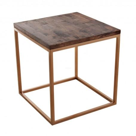 Mesa de centro y mesa lateral Natural / Dorado Haus