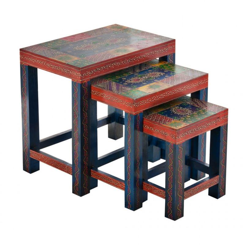 Juego de 3 mesas decorativas Multicolor