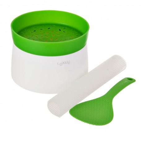Tazón con tapa, cuchara e individual para sushi Lékué