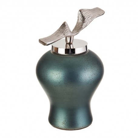 Botella Tibor Decorativo Verde Metalizado / Silver Haus