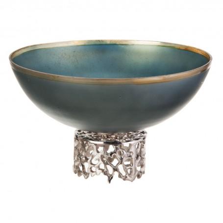 Centro de mesa con pie Verde Metalizado / Dorado / Silver Haus