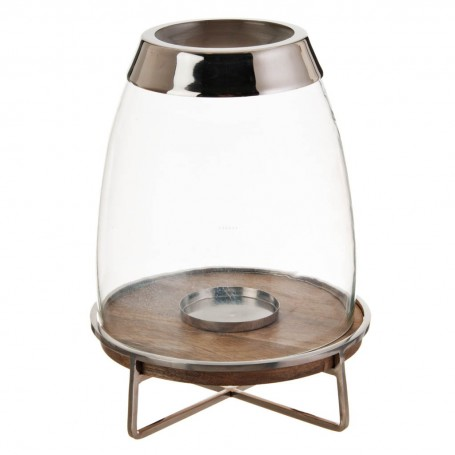 Porta velón cónico con base redonda Natural / Silver