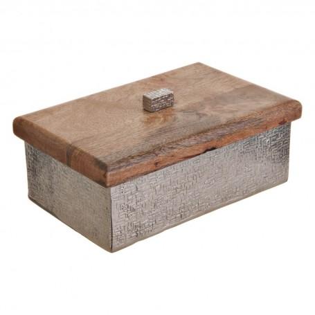 Caja decorativa Martillado Silver / Natural