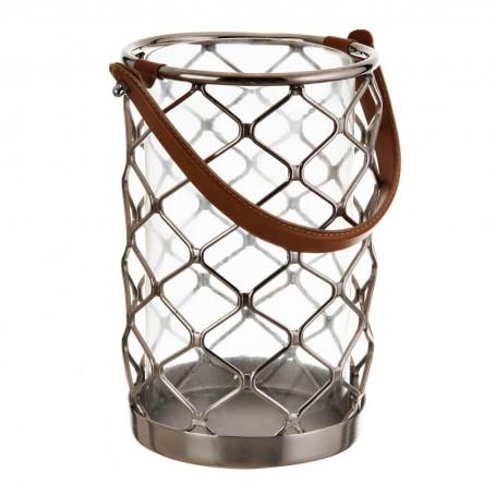 Farol porta velón cilíndrico Natural / Silver