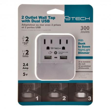 Protector de voltaje 300 Joules / 2.4 Amp 2 entradas /  2 USB Mental Beats