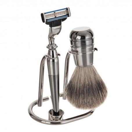 Rasuradora / Brocha para barba con base Labrado Silver Becker Solingen