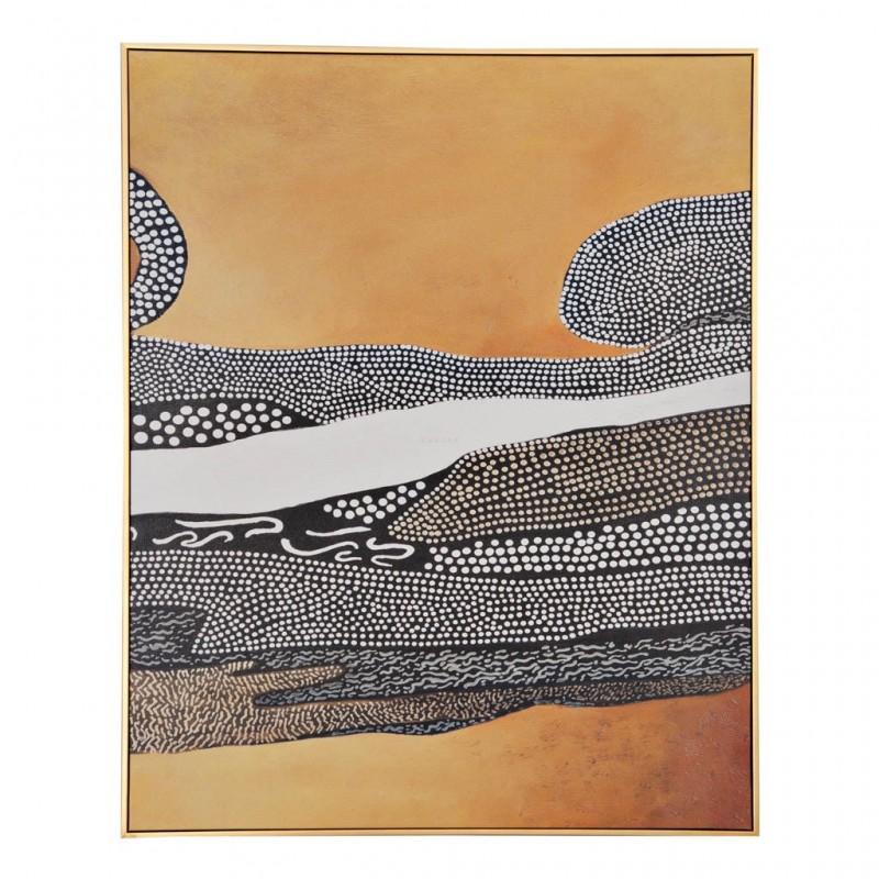 Cuadro con marco Puntos Abstracto Amarillo / Blanco / Negro Haus