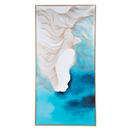 Cuadro con marco Abstracto Turquesa / Dorado / Blanco Haus