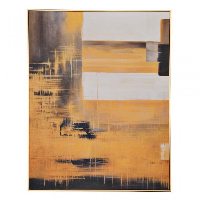 Cuadro Abstracto Amarillo / Blanco / Negro con marco Haus