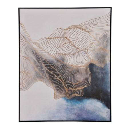Cuadro Abstracto Azul / Dorado / Blanco con marco Haus