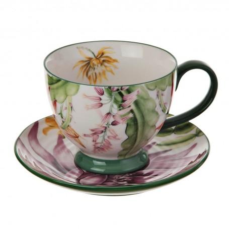 Juego de taza y plato para té Flores Multi Haus