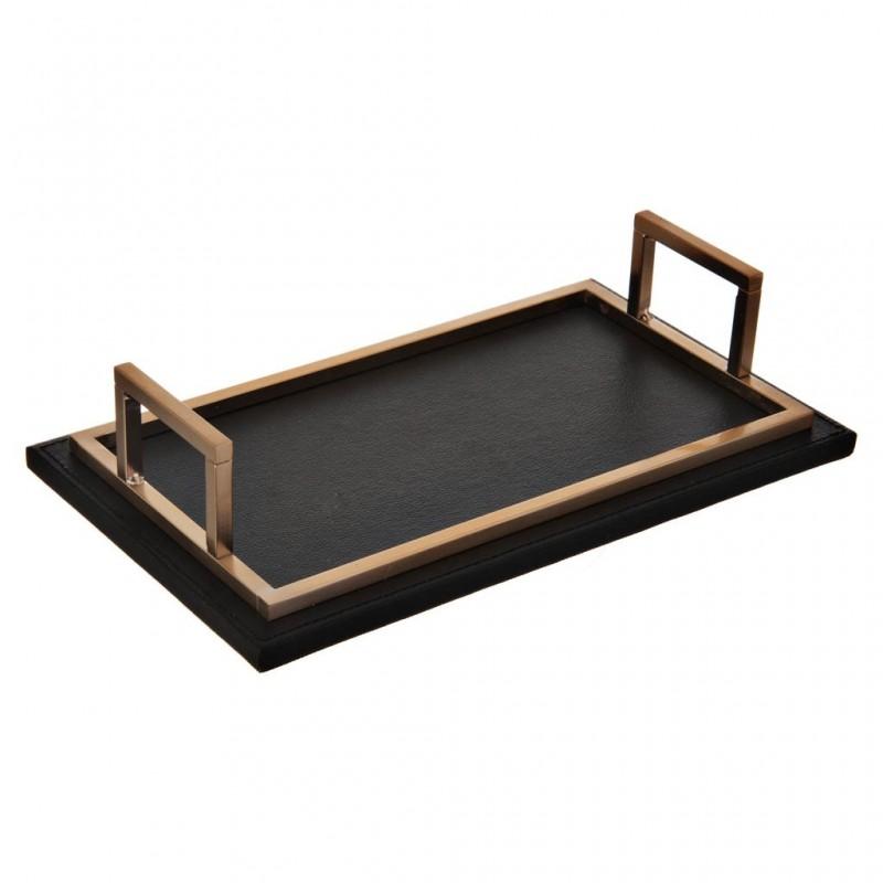 Bandeja para baño con agarraderas Negro / Gold Square