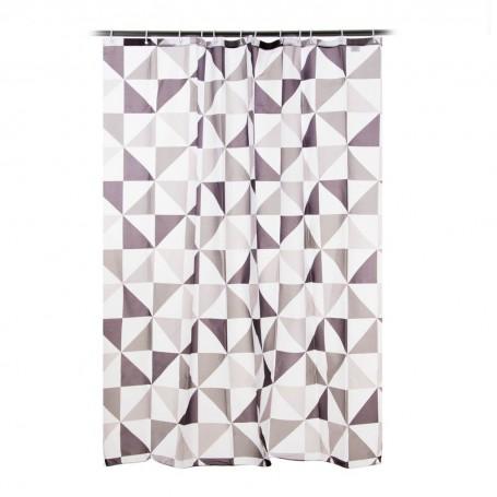 Cortina para baño con 12 ganchos Triángulos Novo