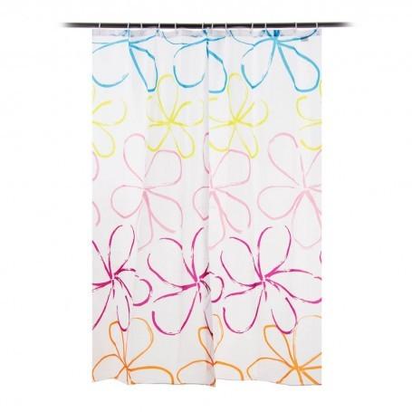 Cortina para baño con 12 ganchos Flor Multicolor Novo