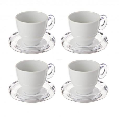 Juego de 4 tazas y platos para té Adamo