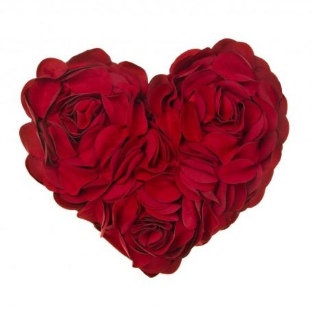 Cojín relleno Corazón con pétalos Poma Rosa