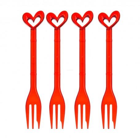 Juego de 4 tenedores para postre Corazón Koziol