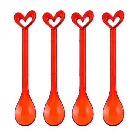 Juego de 4 cucharas para postre Corazón Koziol
