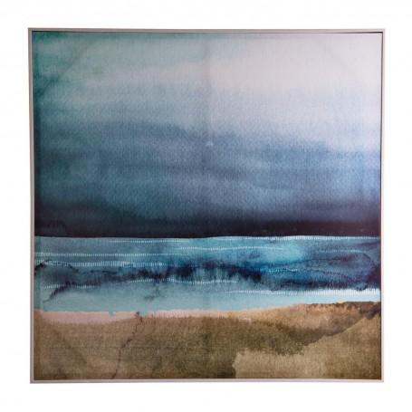 Cuadro con marco Abstracto Azul / Turquesa / Café