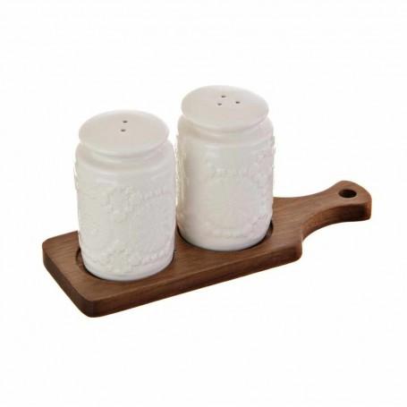 Juego de salero y pimentero con base de madera Haus