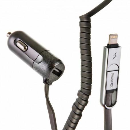 Cargador para auto con cable Lightning / Micro USB Remax