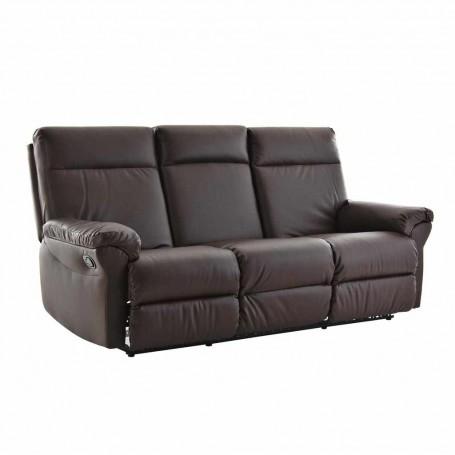 Sofá reclinable con botón 3 puestos Café