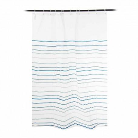 Cortina de baño Líneas Azul / Turquesa Interdesign