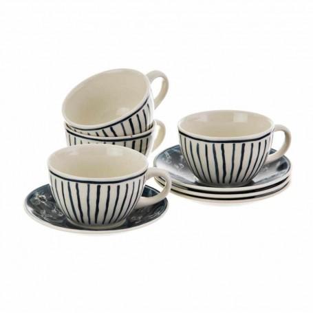 Juego de platos y tazas para té Turkana Flor / Rayas Corona