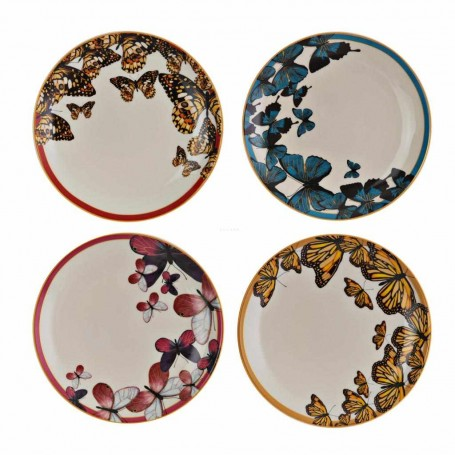Juego de 4 platos tendidos Mariposas Mucura Corona