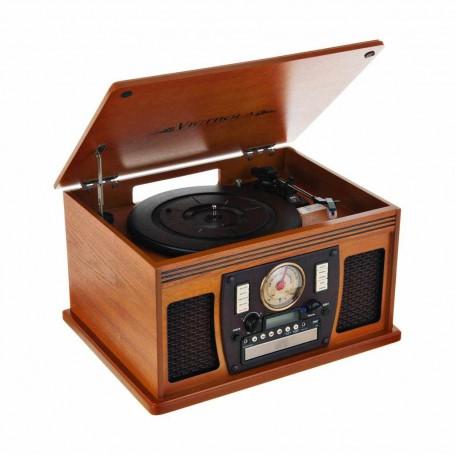 Tocadiscos Bluetooth / Digitalizada LP / Cassette / CD / Radio AM-FM  / USB / AUX  Madera Oak VTA-600B Victrola