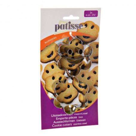 Juego de 2 cortadores para galletas Flor / Cara Feliz Accessories Patisse