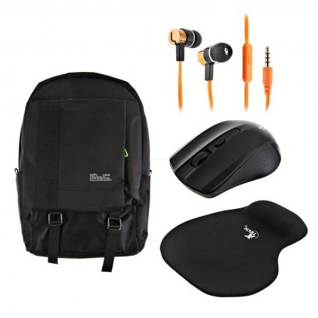 Mochila + Mouse + Mouse pad + Audífonos Klip Xtreme