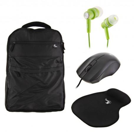 Mochila + Mouse + Mouse pad + Audífonos Xtech