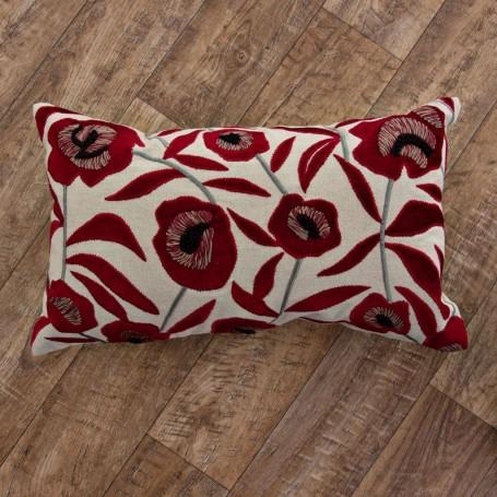 Forro para cojín Flores Rojo / Crudo Haus