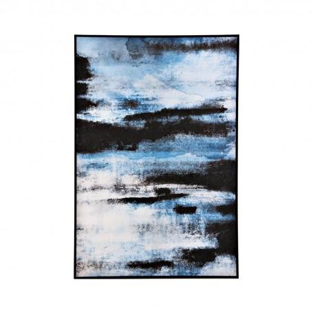 Cuadro con marco Abstracto Azul / Blanco / Negro