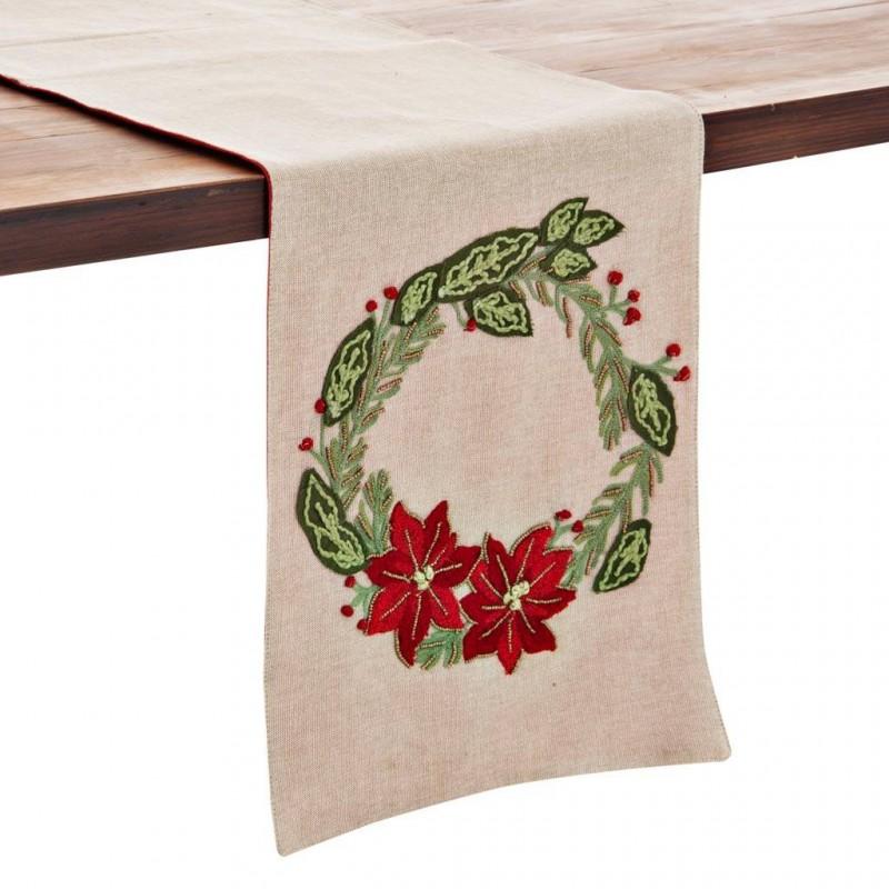 Camino de mesa Joy Corona de Navidad Haus