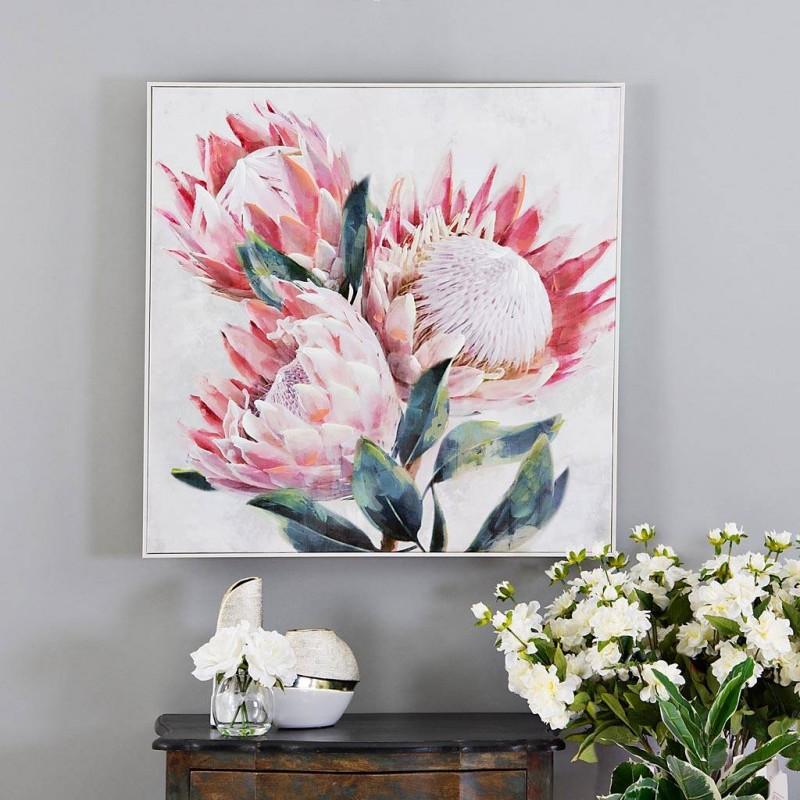Cuadro Flores Rosado / Blanco / Verde