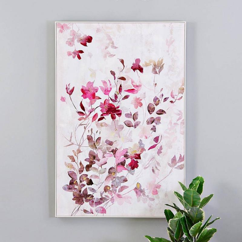 Cuadro Flores Rosado / Blanco / Gris