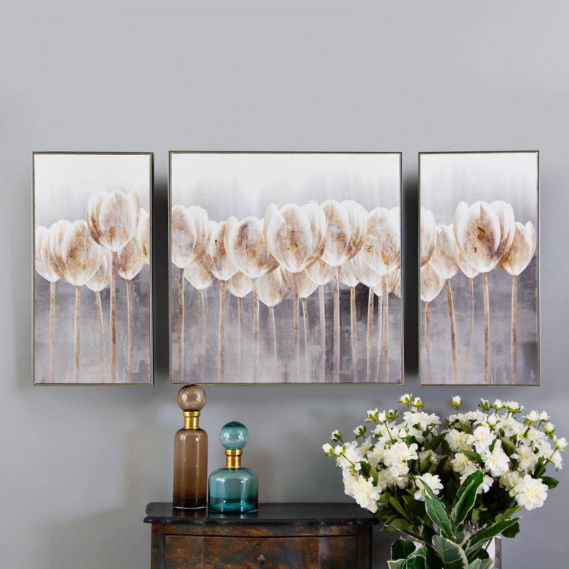 Cuadro Flores 3 piezas