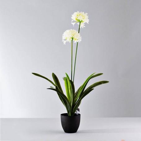 Planta artificial con 2 flores blancas / maceta Haus