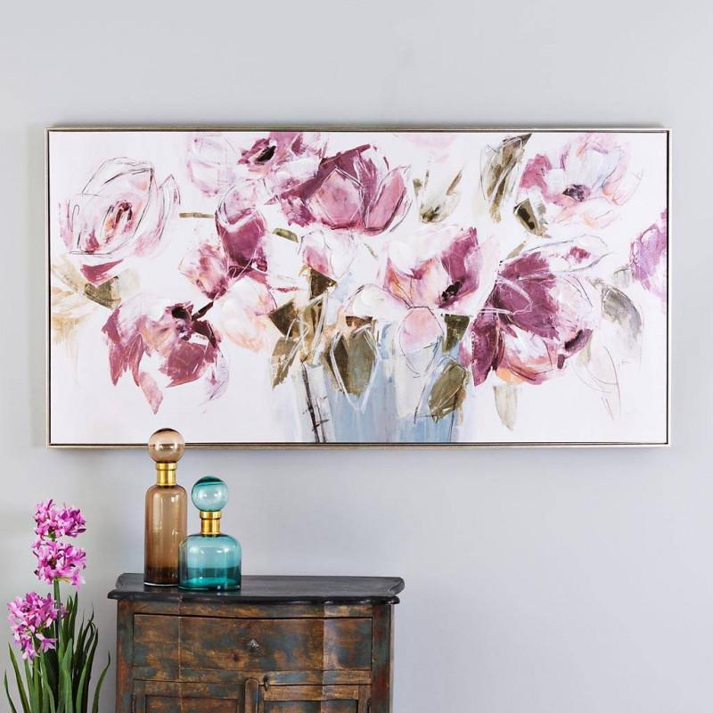 Cuadro Flores Lila / Verde