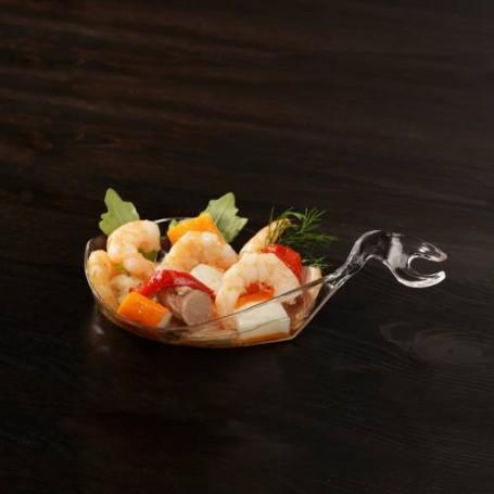 Juego de 10 pozuelos / cucharas pez Clear Papstar