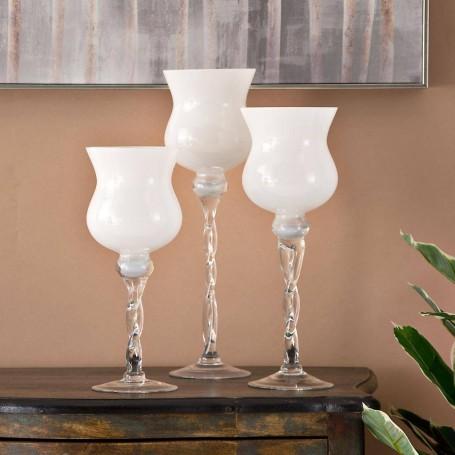 Juego de 3 candelabros Blanco / Clear Novo
