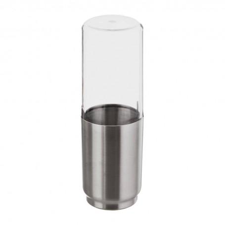 Porta cepillos con tapa Austin Clear / Silver Interdesign