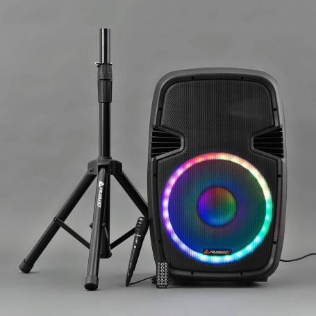 "Parlante para fiesta LED Bluetooth / Radio / USB / SD / Micrófono / Soporte 15"" 200W RMS Sono Italy"