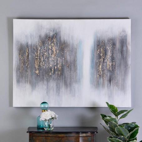 Cuadro Abstracto Blanco / Negro / Celeste