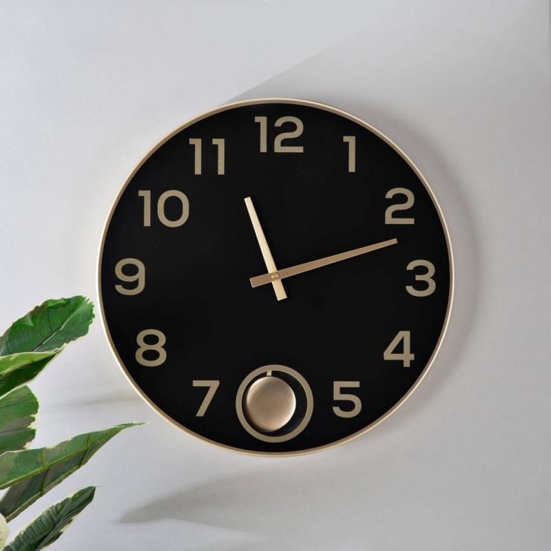Reloj de pared con péndulo Negro / Dorado